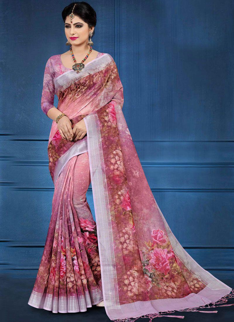 9404a28df7 Prime Linen Digital Print Multi Colour Printed Saree | Sarees in ...