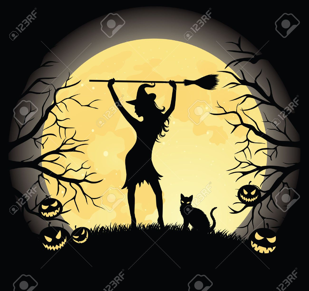 Silhouette of a witch with a broom and a cat standing on a