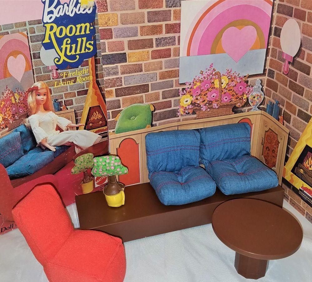 Vhtf vintage 1970s barbie roomfulls firelight living room furniture complete mattel living room furniture