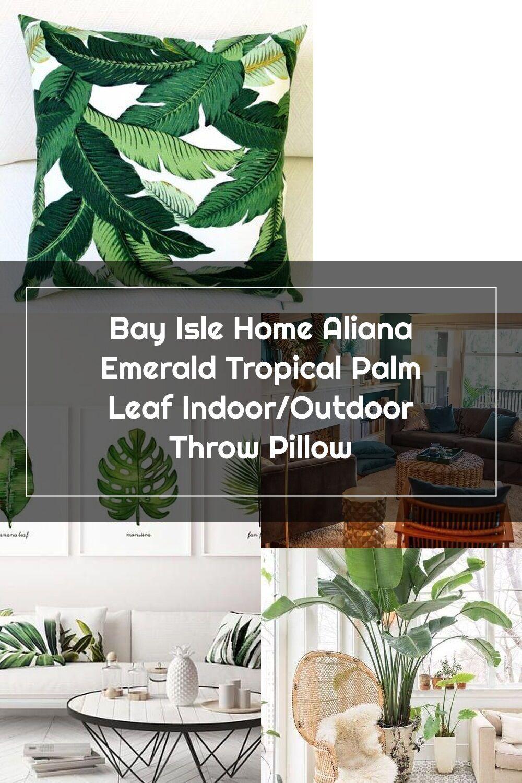 Bay Isle Home Aliana Emerald Tropical Palm Leaf Indoor Outdoor Throw Pillow