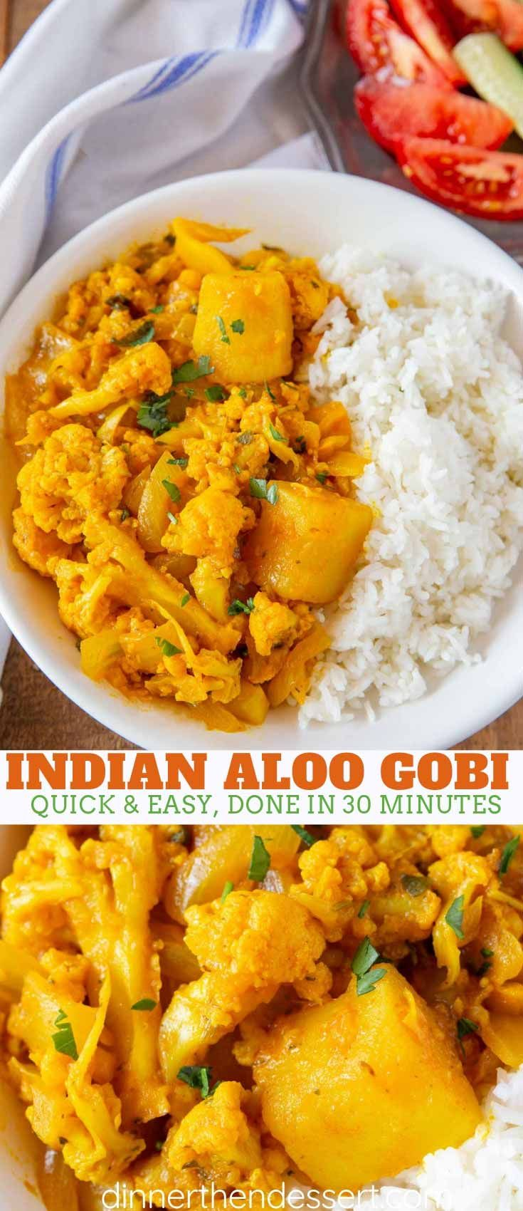 Aloo Gobi is the PERFECT vegetarian dinner made with fresh cauliflower and potatoes steamed and sautéed with seven different spices, ready in under 30 minutes! #vegetarian #dinner #sidedish #Indian #vegan #curry #cauliflower #aloogobi #dinnerthendessert #indianfood