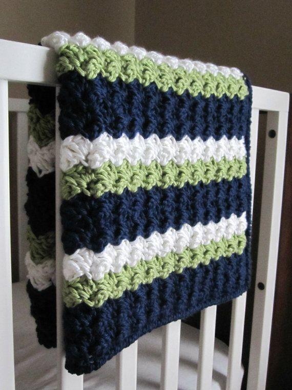 Chunky Preppy Baby Reversible Crochet Blanket Pattern | Pinterest ...