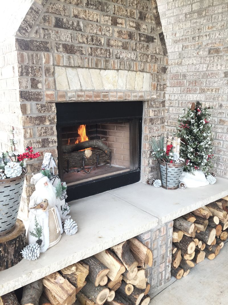 Outdoor Fireplace Ideas Christmas Decor For An Outdoor