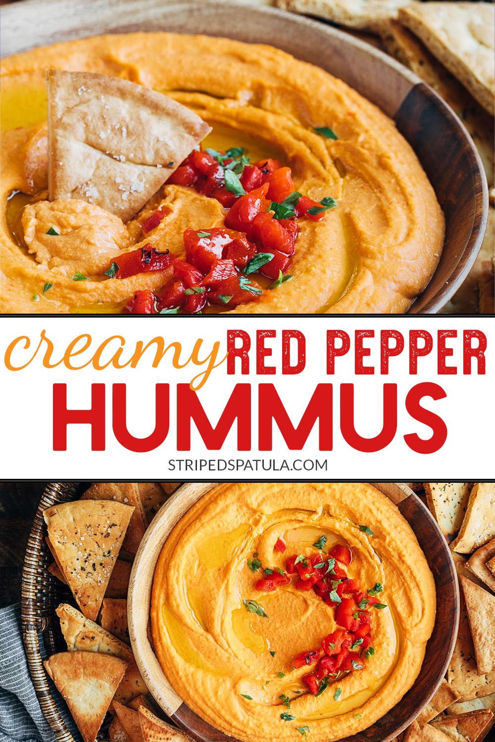 It's easy to make creamy, homemade Roasted Red Pepper Hummus! This recipe only takes 15 minutes t