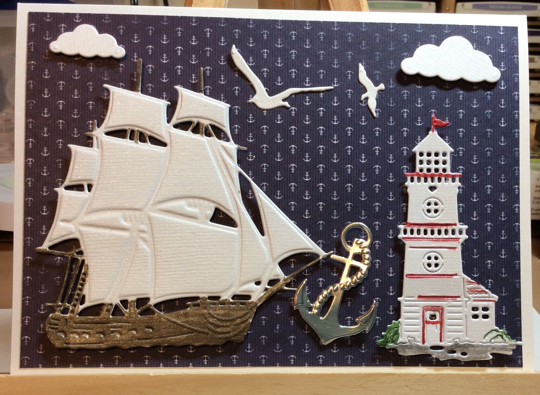 Pin by jacquelyne laburda artist stampin smiles by jackie on marianne design sailboat and anchor cottage cutz lighthouse kristyandbryce Choice Image