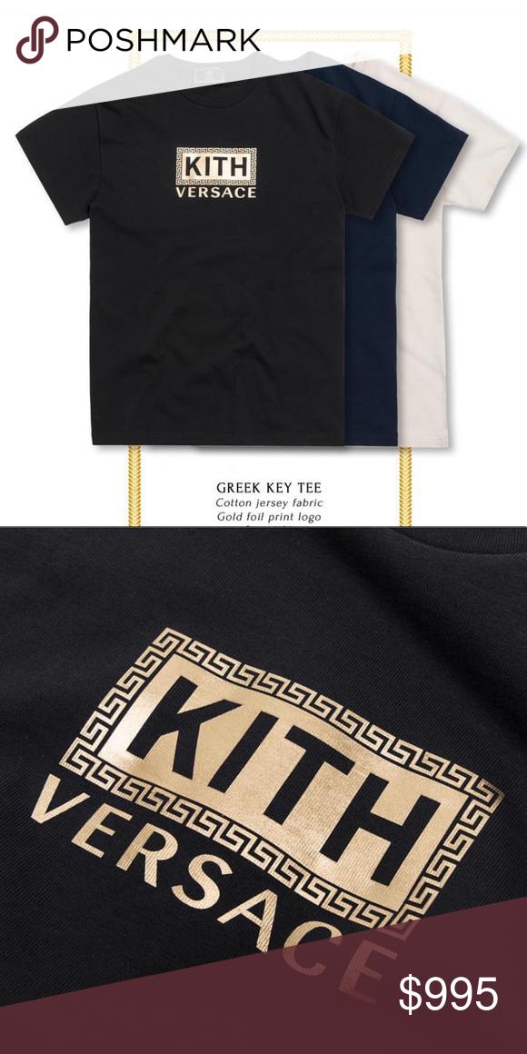bb61f0e00fb3a Kith x Versace Black Greek Key Tee NWT Cotton jersey fabric Gold ...