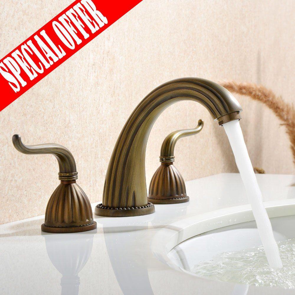 VESLA HOME Vintage Two Handle High Arc Widespread Bathroom Faucet ...