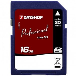 7dayshop Professional High-Speed SDHC Memory Card - 16GB - Class 10  Outstanding performance, speed and value: 16GB memory and class 10 speed  Ideal for use in the latest digital cameras, camcorders and other SDHC compatible devices  Store 1000s of photos, hours of video, or 100s of music albums  Capture all types of video: read speed of 20MB/s and a write speed of 12MB/s