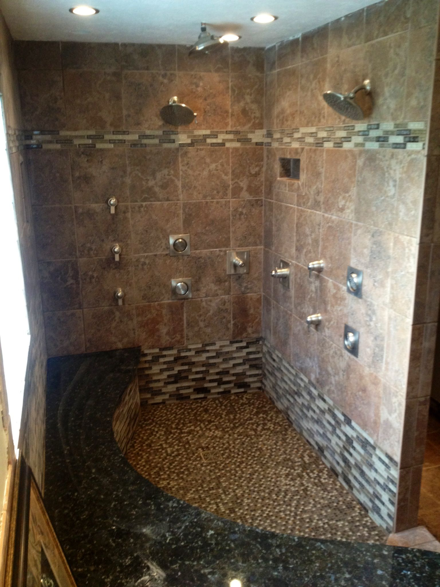 Our new custom master bathroom, complete with a whirlpool 10 jet tub &  custom shower