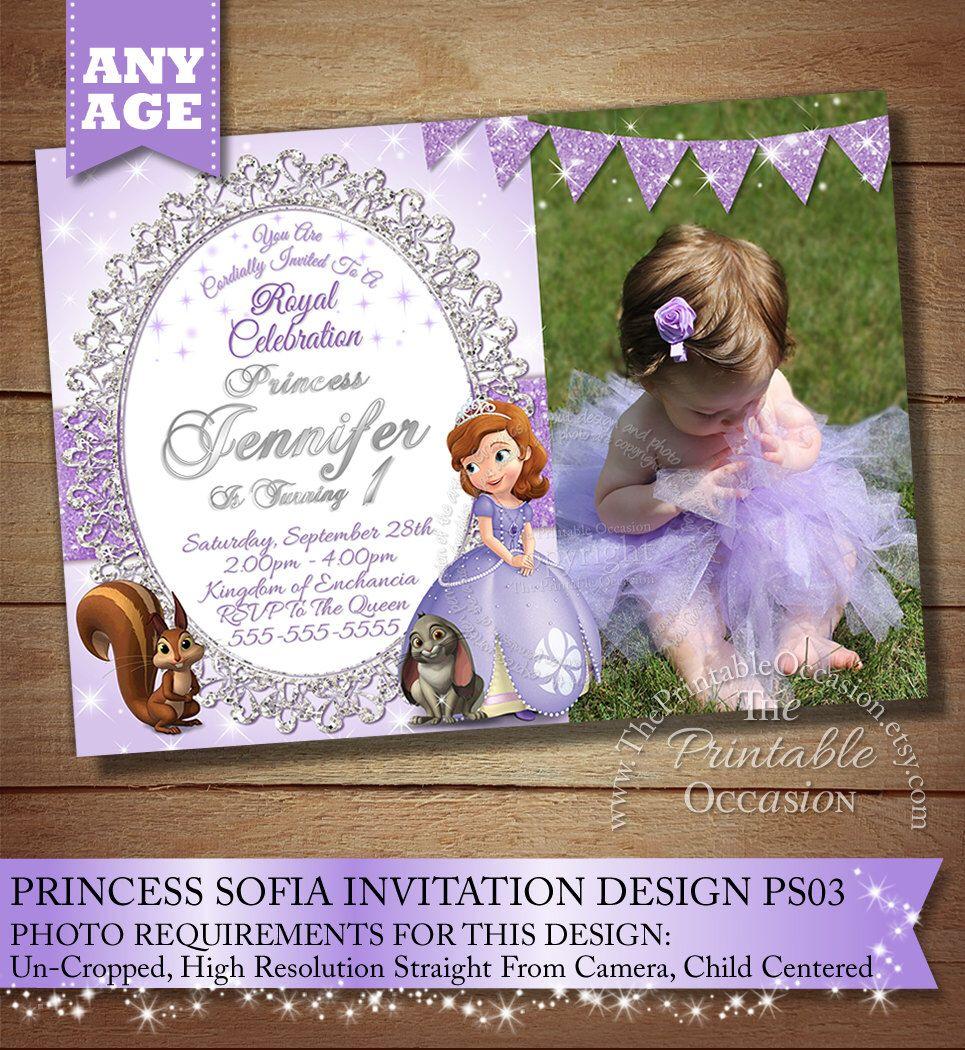 Sofia the First Birthday Invitation, Princess Photo Invitation ...
