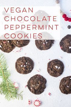Vegan Chocolate Peppermint Cookies  Crispy on the outside chewy and gooey in the center these chocolate peppermint cookies are guaranteed to make spirits bright This vega...