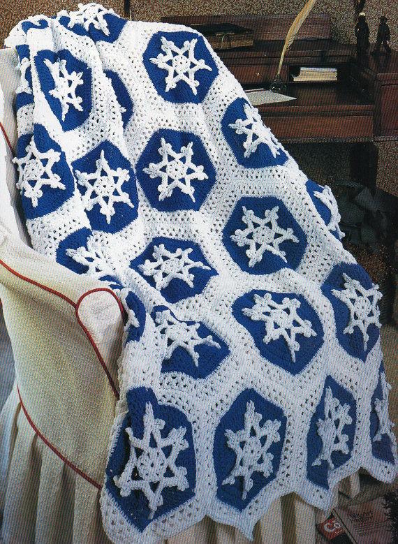 Snowflakes Afghan Blanket Crochet Pattern Christmas Holiday Afghan ...