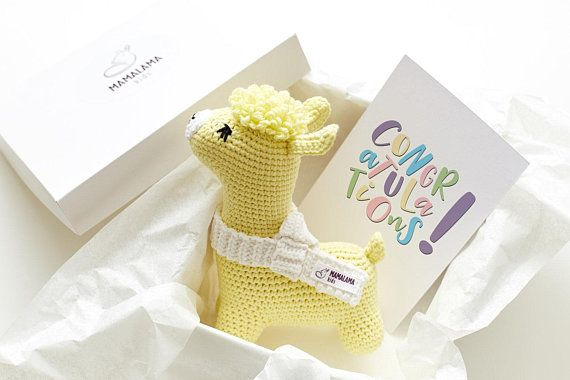 6761d8f1def07 Pregnancy gift box Yellow crochet llama baby toy New mommy gift set Llama  gift Pregnancy package Fun