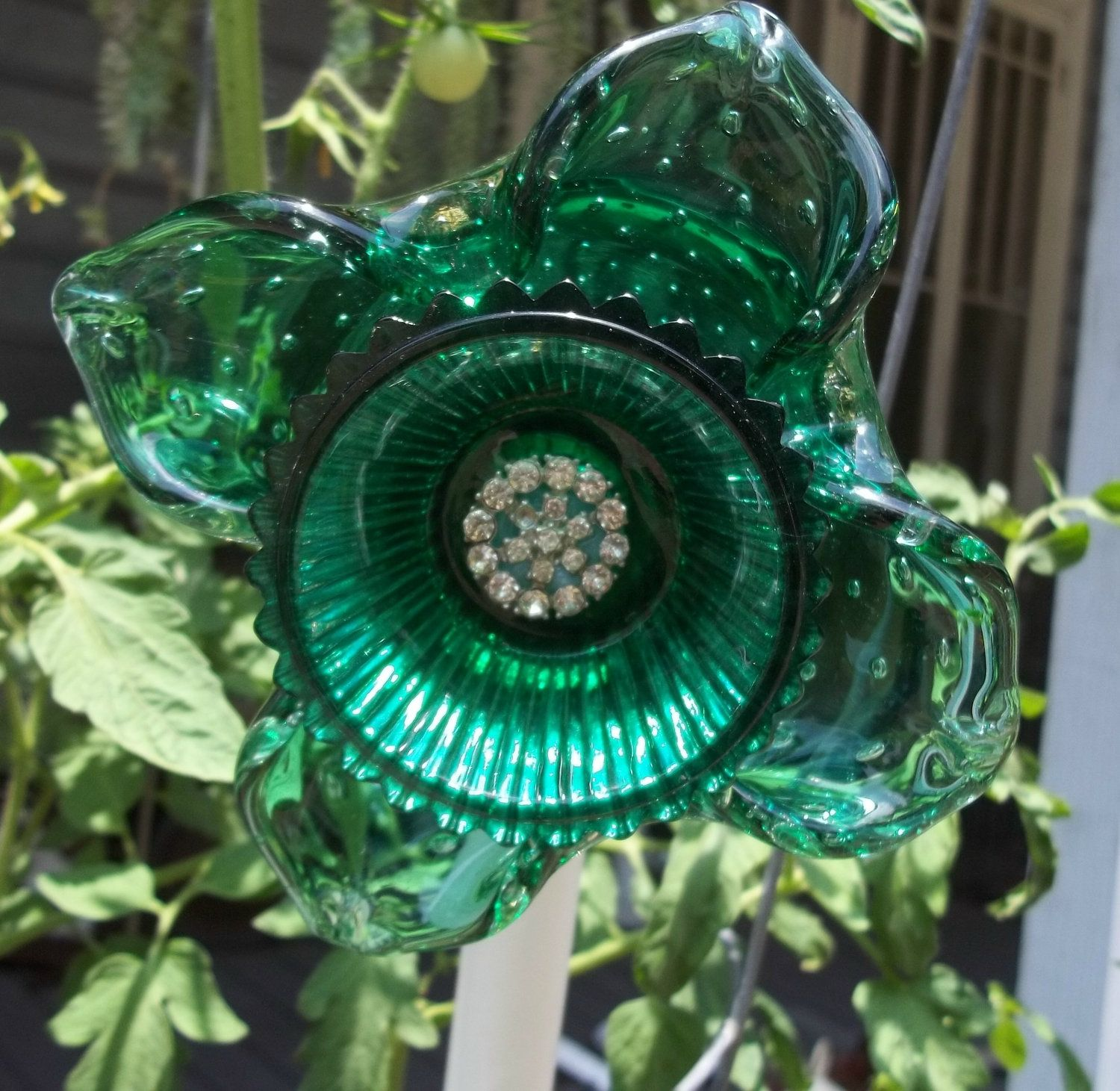 recycled garden decor | Recycled Green Glass Garden Flower by ...