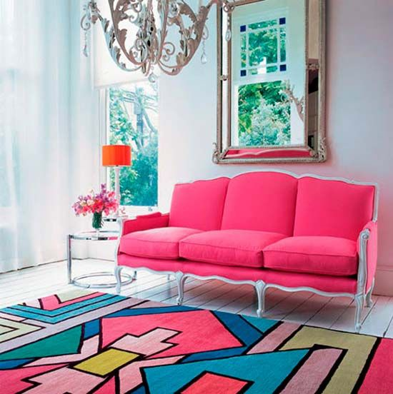 Colorful Modern Rug In Pink Blue Lavender And Green Color Combination