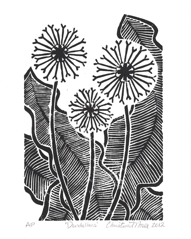 linoleum block print - 'dandelions' - limited edition original