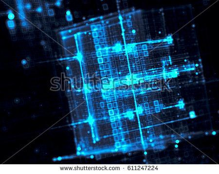 technology fractal background blurred glowing cubes abstract