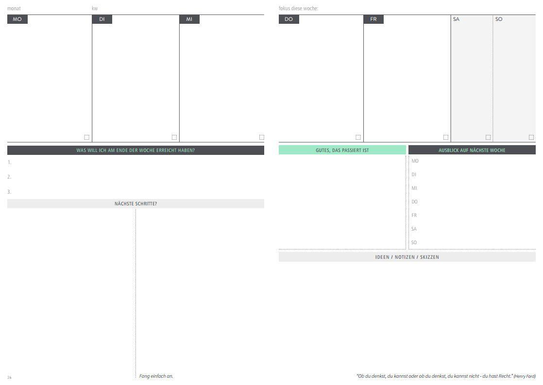Die einfache Struktur des Kalenders, ermöglicht dir immer