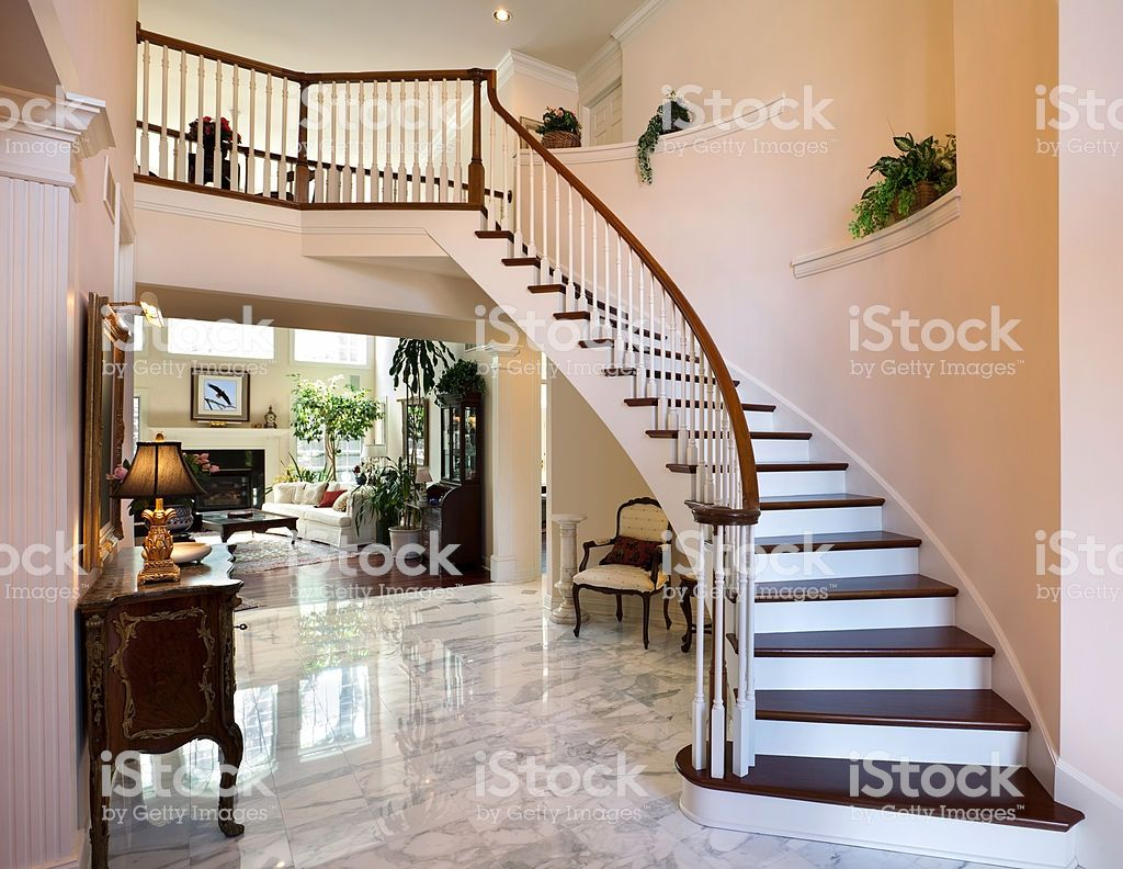 White grand foyer staircase marble floor showcase home interior design royalty free stock photo also rh pinterest