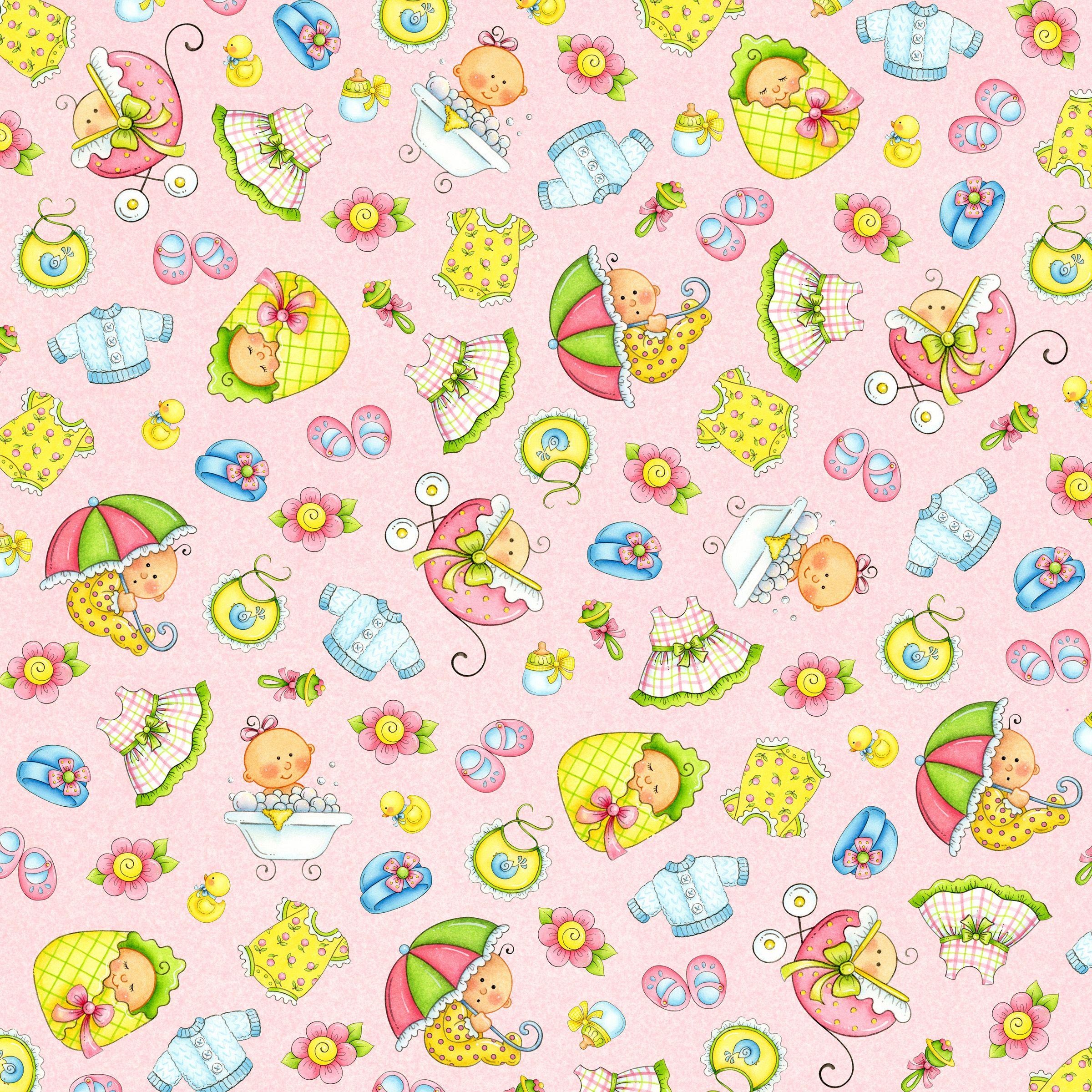 Papel Decorado Baby Scrapbook Baby Clip Art Doll House Wallpaper