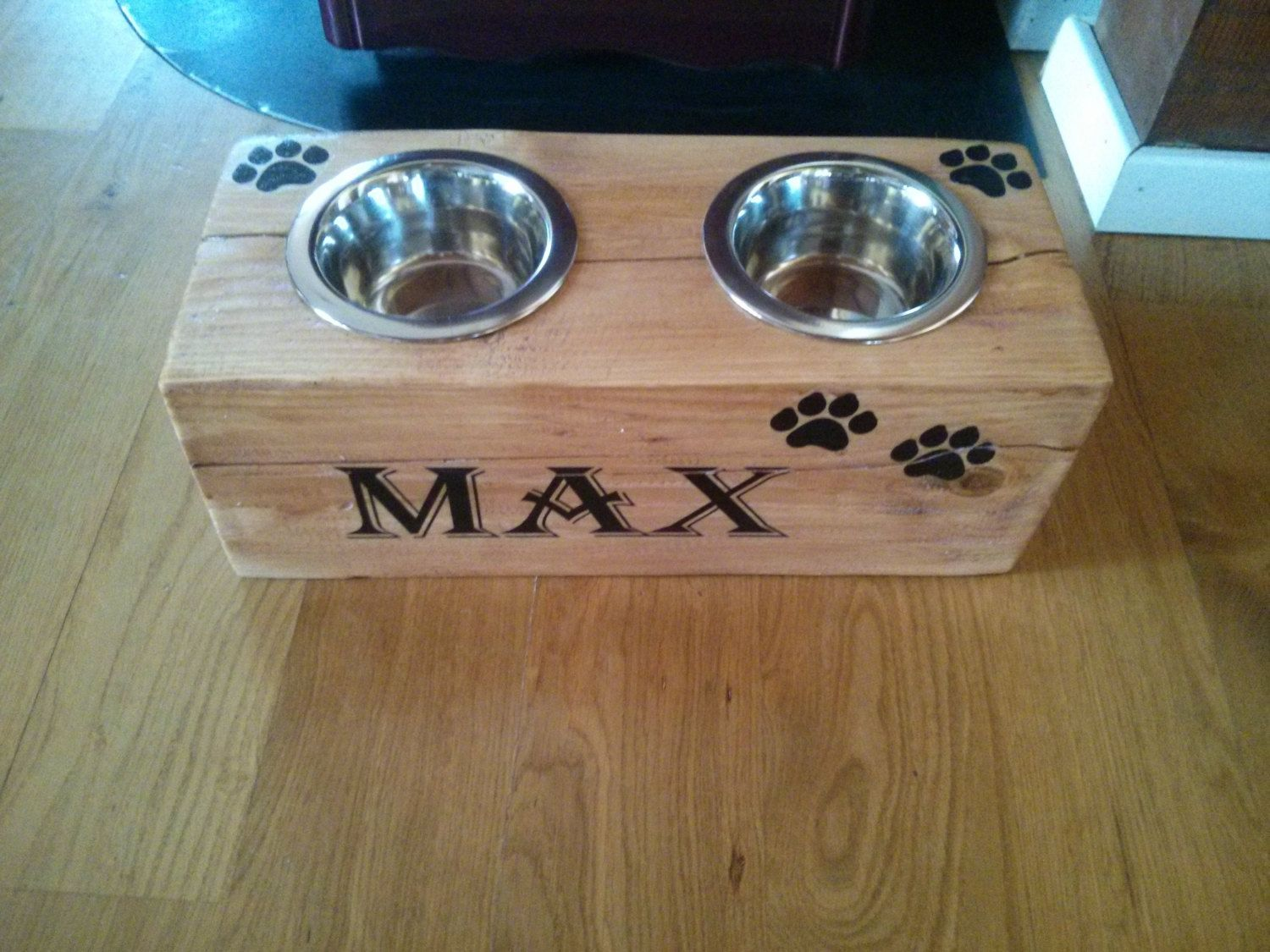 Rustic Wood Pet Feeder  Wooden Cat Or Small Dog Bowl Holder  Cat Or Dog