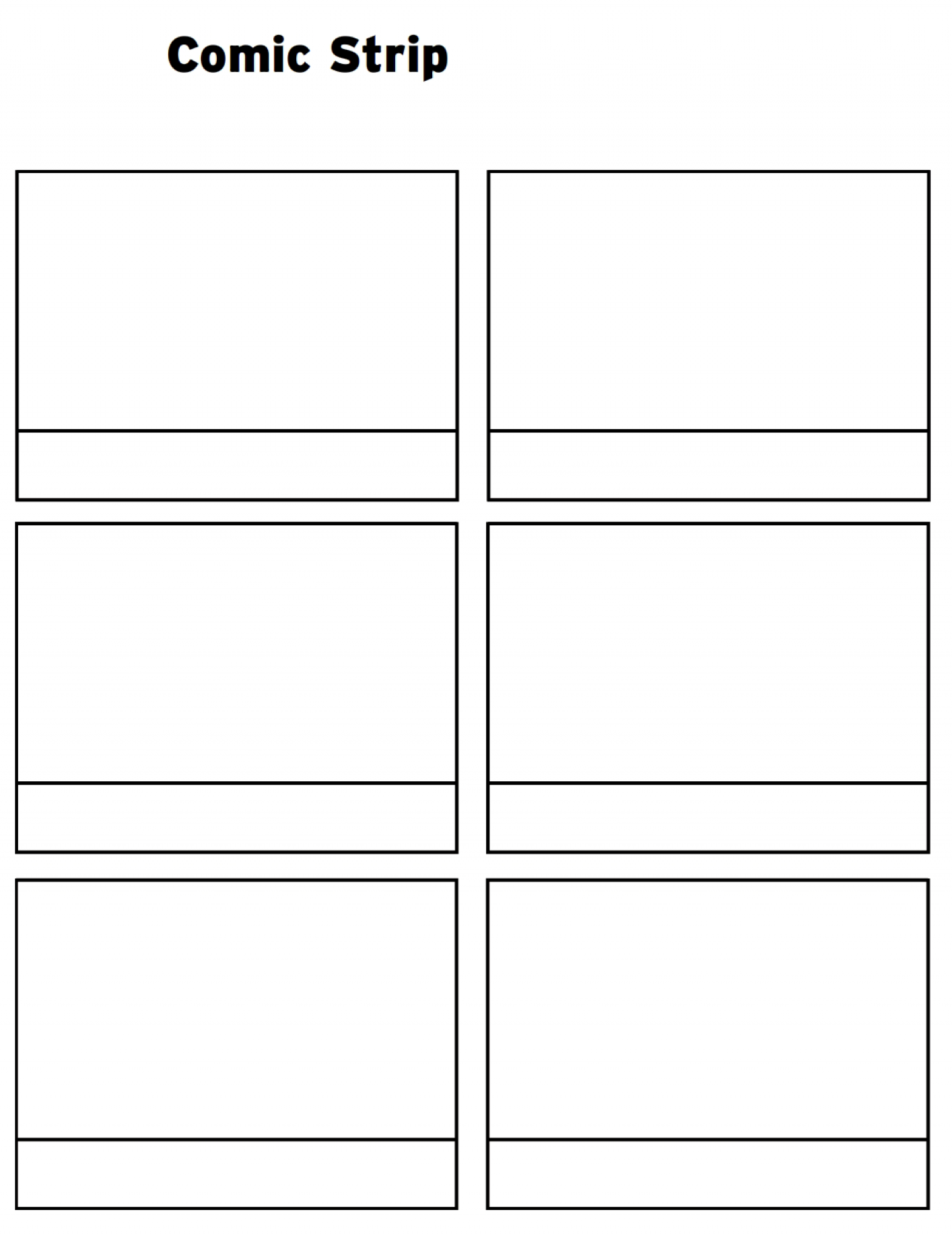 Printable Comic Strip Template Word Pages