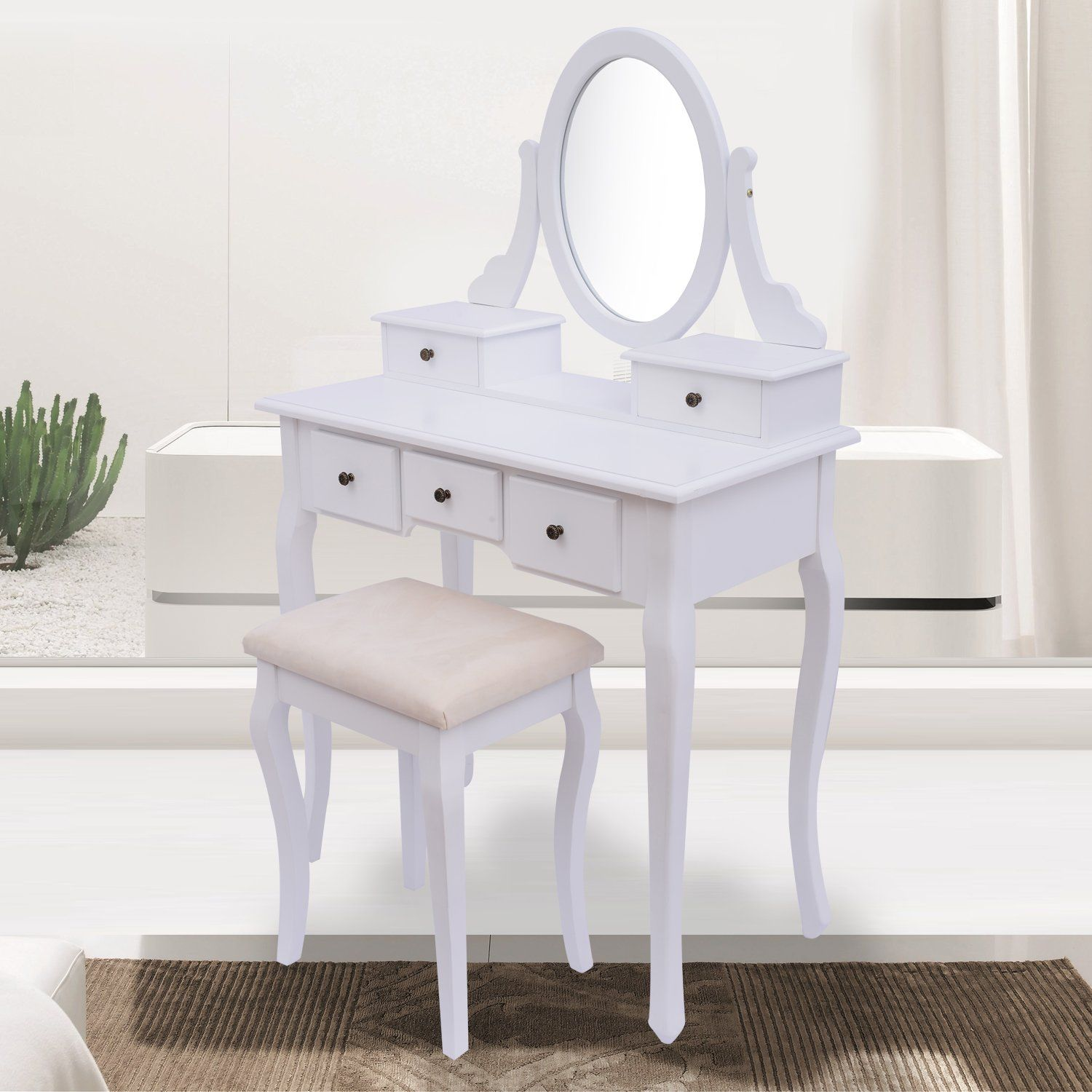 Antique style shabby chic dressing table with