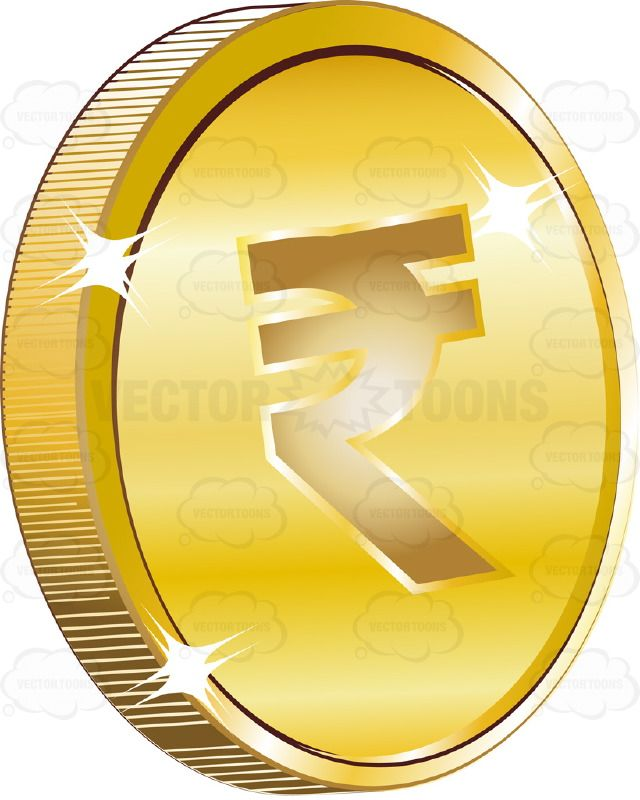 Indian Rupee Sign On Gold Coin Currency Vector Illustrations