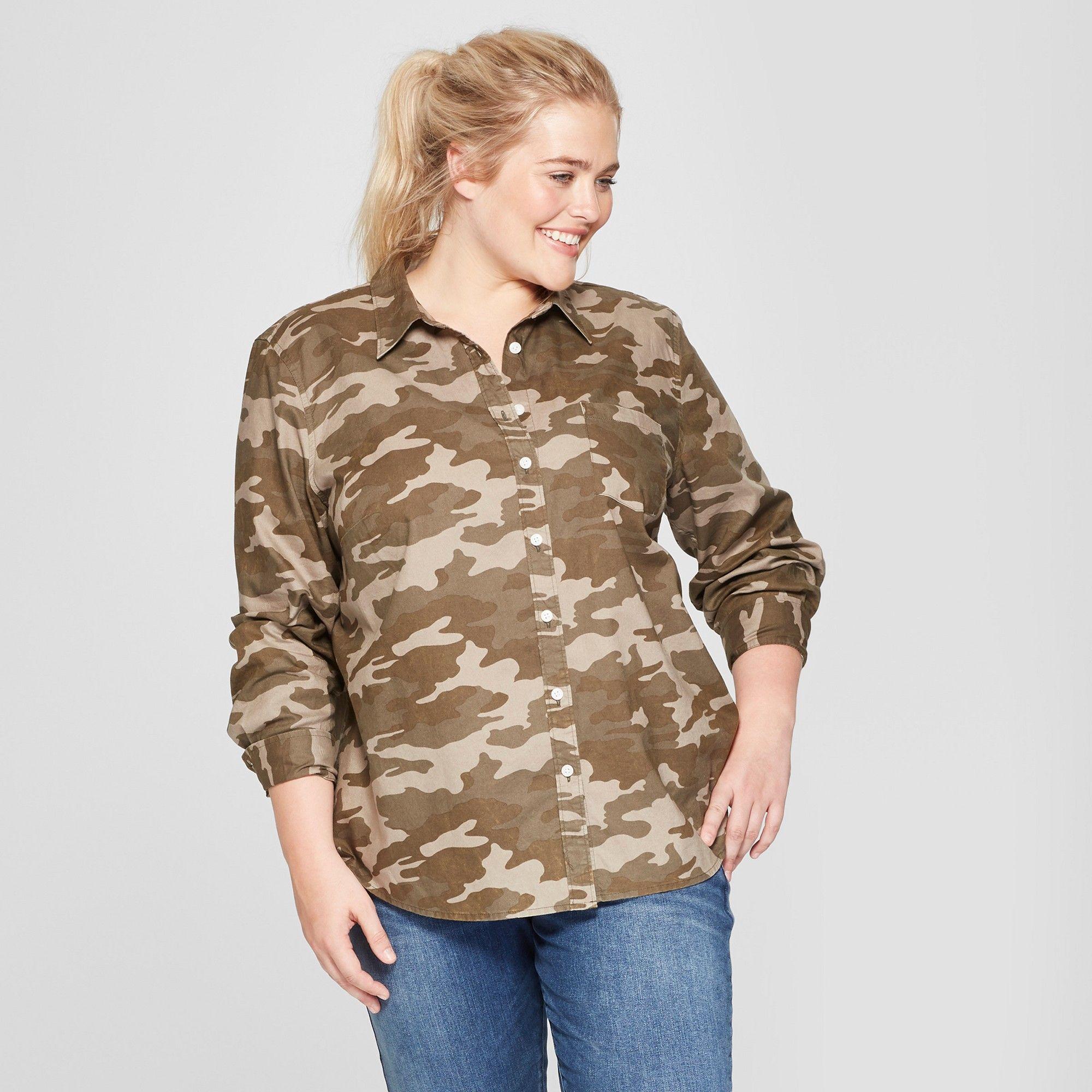 95c28fb2 Women's Plus Size Camo Print Long Sleeve Camden Button-Down Shirt - Universal  Thread Olive 4X, Green