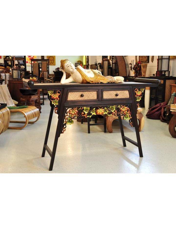 Kommode Bambus Holz Blumen farbig 150x53x94cm What i like