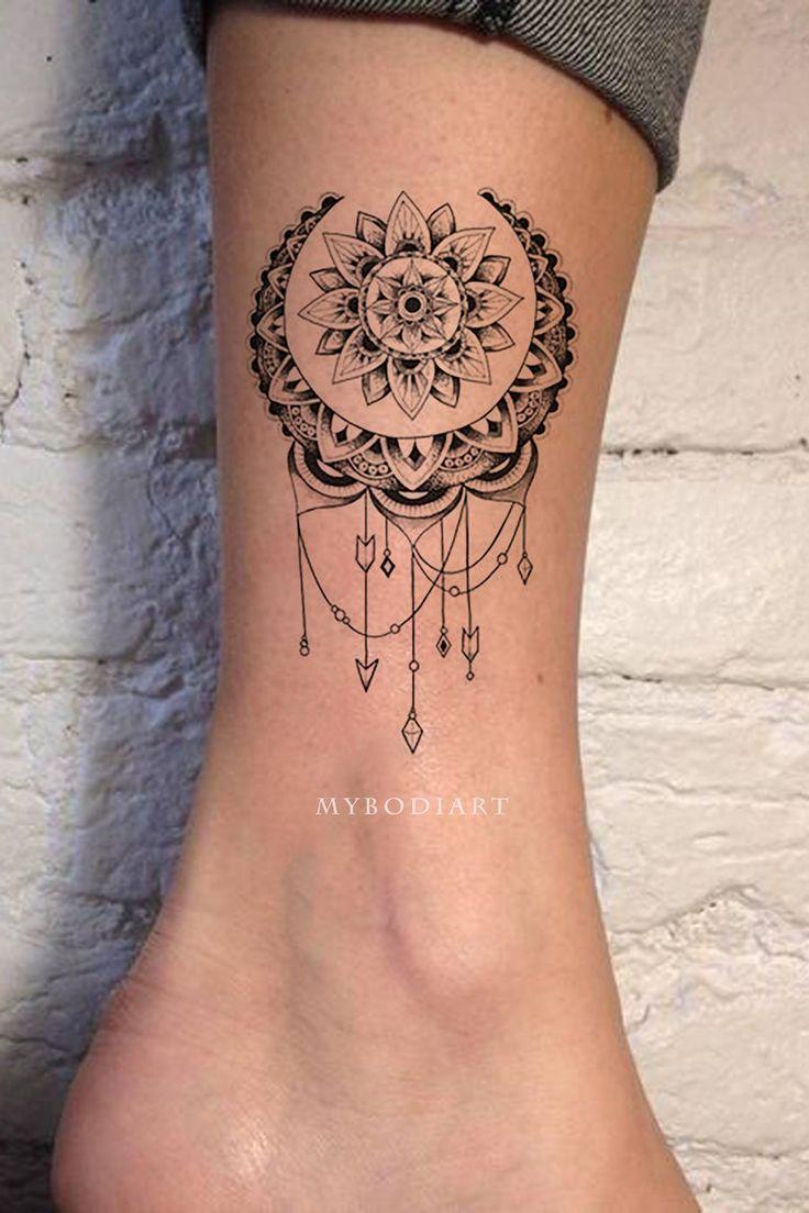 Boho Lune tobillo Tatouage tribal Mandala Chandelier dentelle Lotus – idées de tatuajes – #ankle