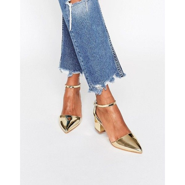 Truffle Collection Molly Ankle Strap Mid Heeled Shoes ($36) ❤ liked on Polyvore featuring shoes, pumps, gold, kitten heel shoes, pointed toe shoes, pointed toe pumps, block-heel pumps and ankle strap shoes