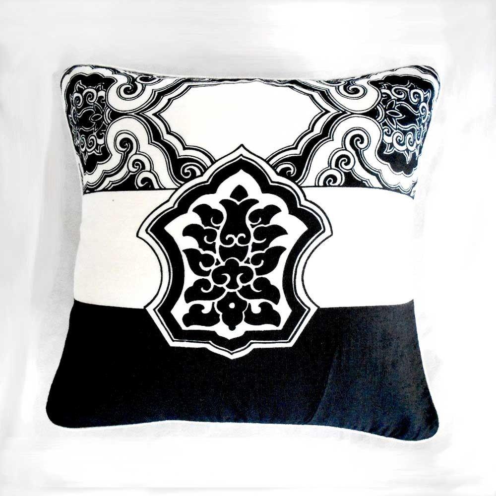 Cushion cover black u white oriental sandwich aniika cushions