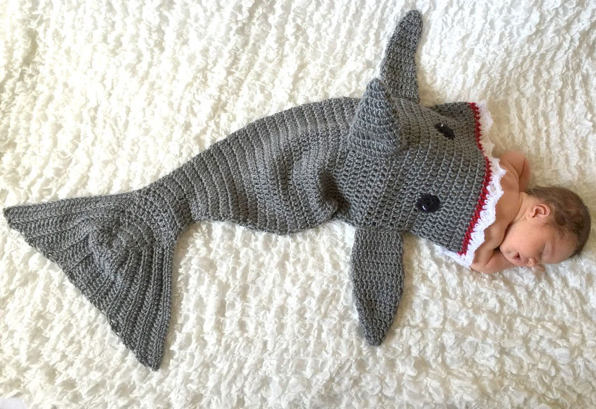 Very Cute Shark Newborn Crochet Sleeping Bag Set | Products ...