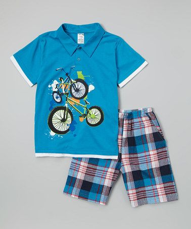 300cb9a6 Loving this Turquoise Bike Plaid Polo & Shorts - Infant, Toddler & Boys on  #zulily! #zulilyfinds