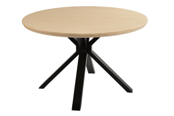 Zhu Zi Industrial Round Dining Table With Bamboo Table Top