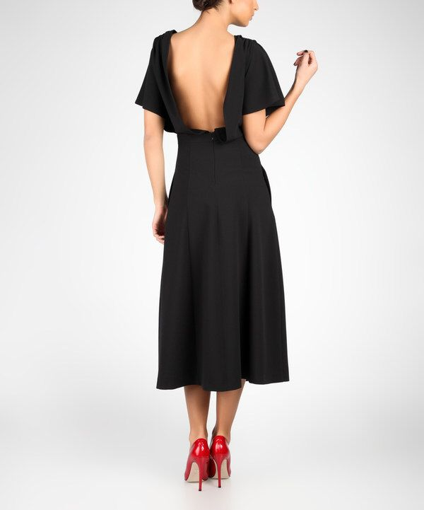 Look at this Black Cape-Sleeve Open-Back Dress on #zulily today!