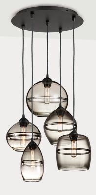 Room Board Modern Banded Mixed Pendant Lights With Round Ceiling Plate Set Of Five In Gl Smoke