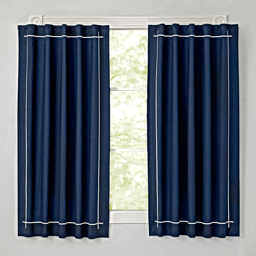 Shop Genevieve Gorder Navy Blackout Curtain This Solid Panel With White Embroidery Has