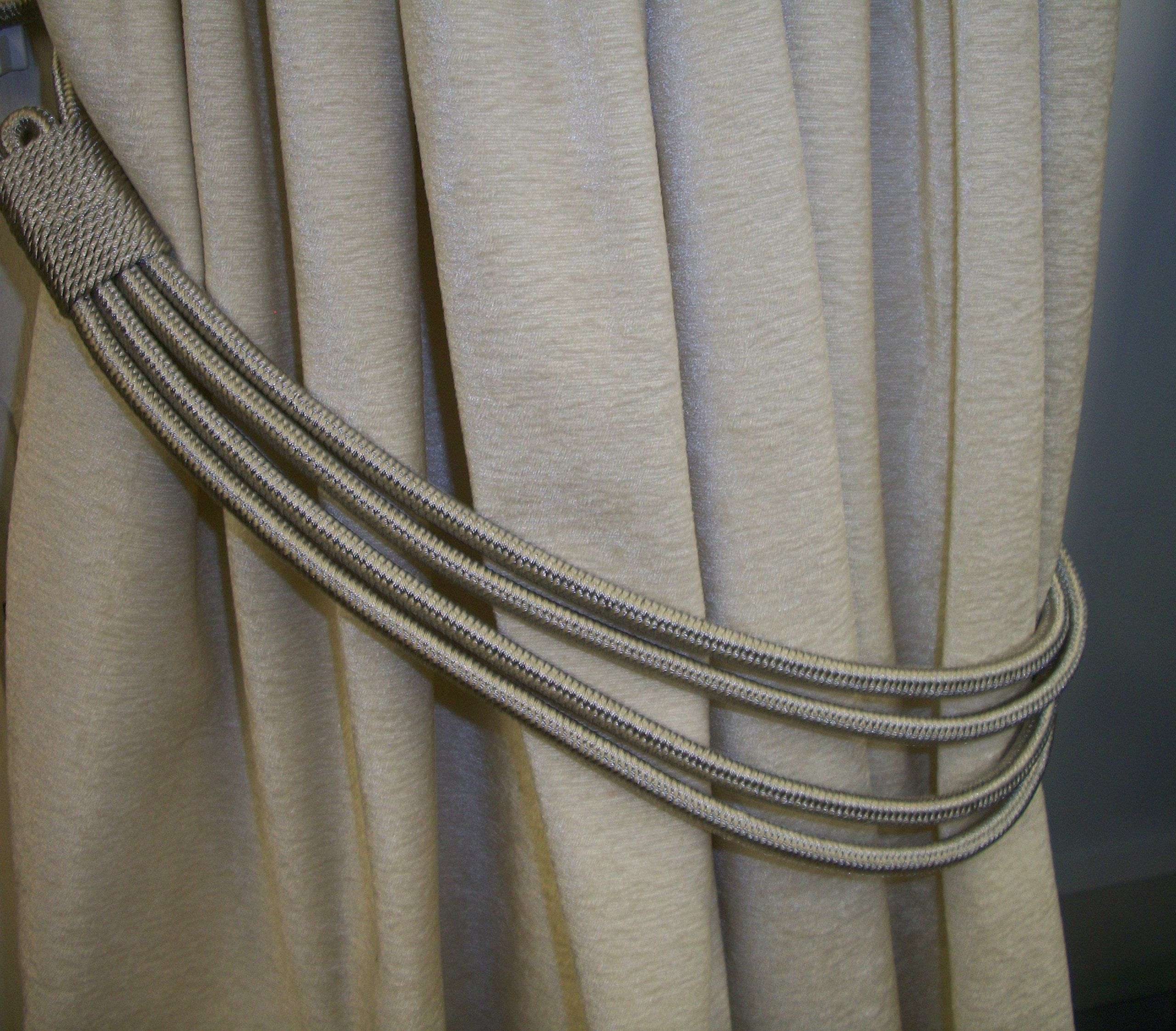 silver grey cord band curtain tie back
