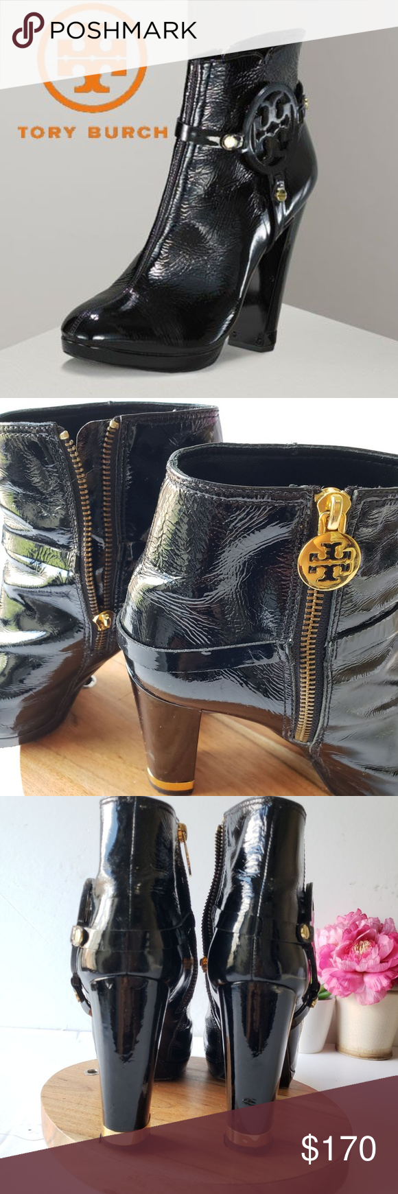 0781cb6ce0c6 Tory Burch sz 9 M Whitney Booties Tory Burch black patent leather booties  featuring gold tone hardware  goldtone zipper on the inside of the bootie
