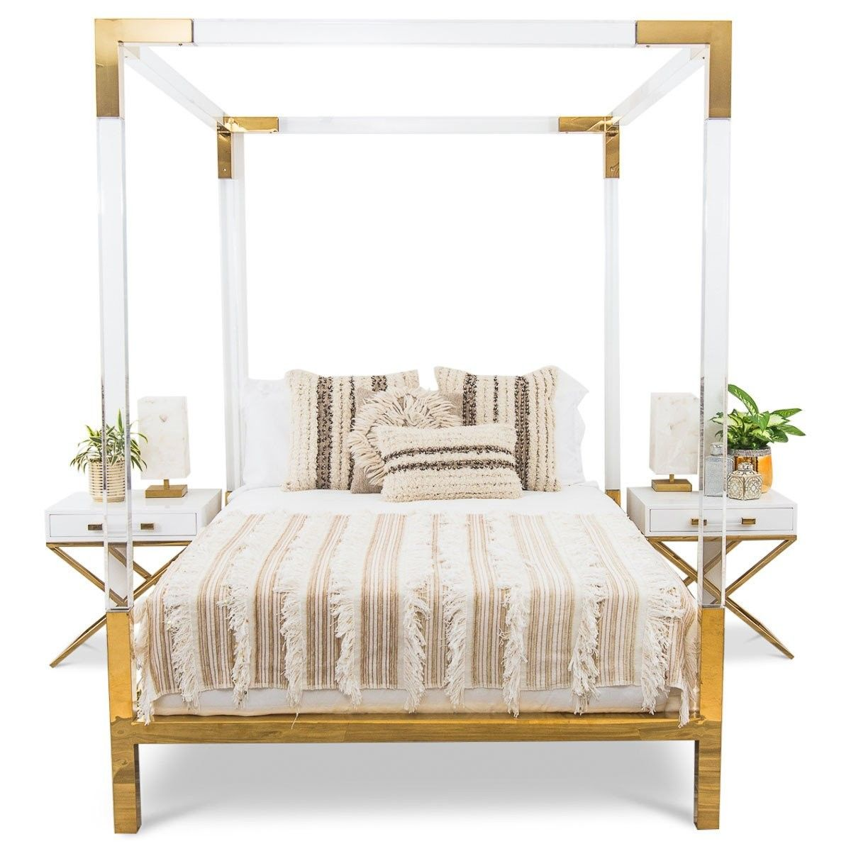 Made with ultratrendy lucite, this bed frame takes a