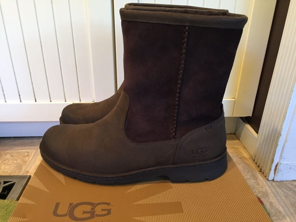 7aed9712f84 UGG Men's Size 12 Foerster Stout Brown Leather Waterproof Boots Slip ...