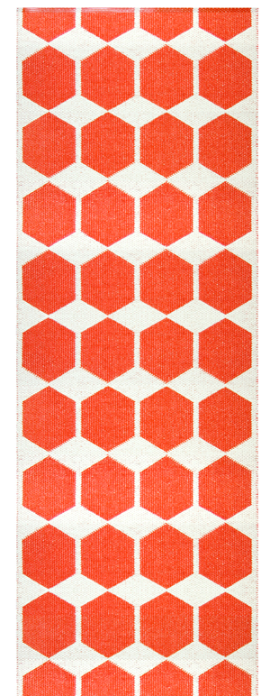 Anna Red Brita Sweden Woven Plastic Rug Material Foil And Polyester