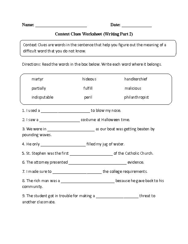 Context Clues Worksheet Writing Part 2 Advanced