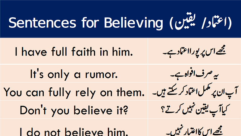 Sentences of Believe or Faith with Urdu Translation in