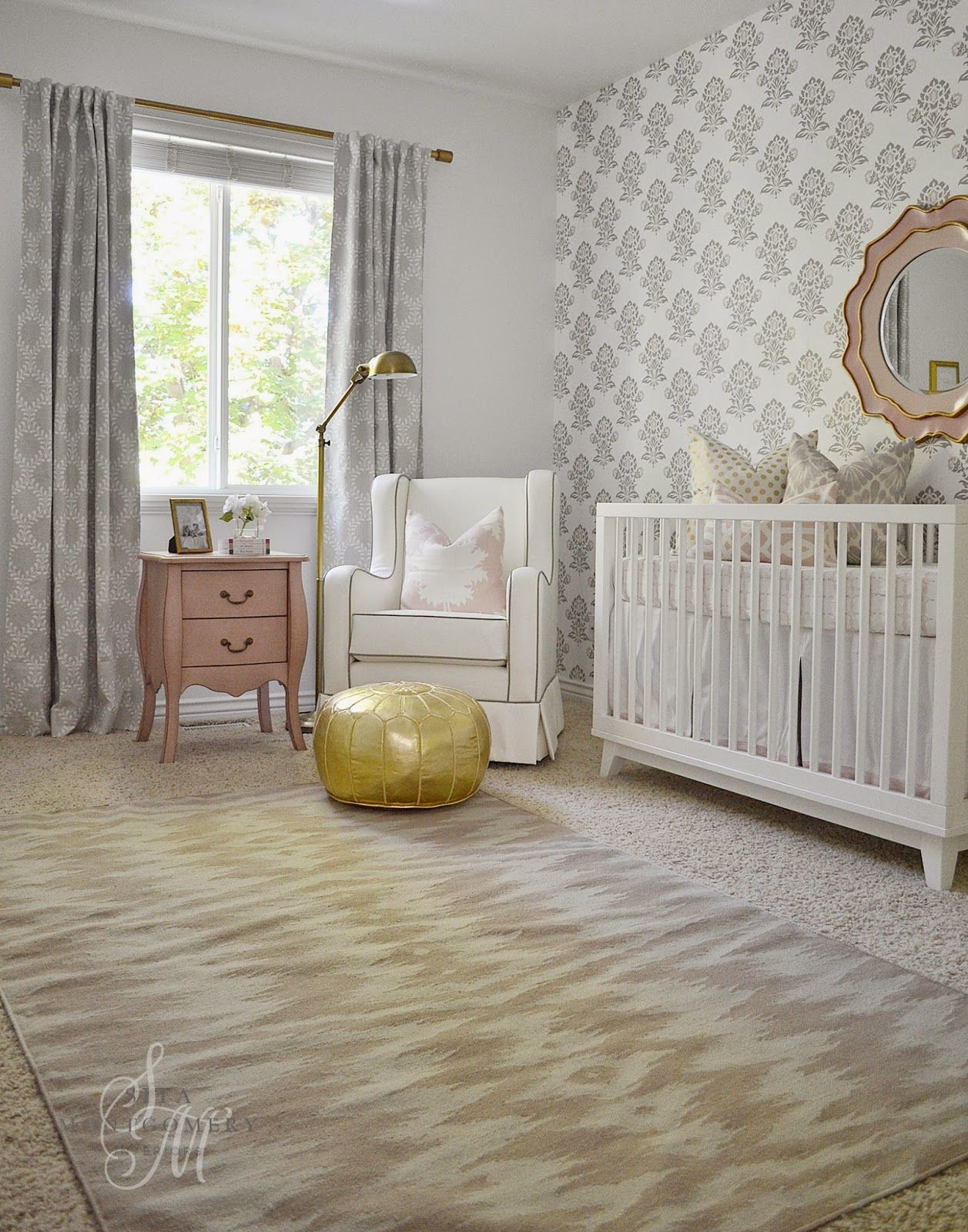 Gorgeous Gold, Pink, Cream & Gray Baby Girl Nursery -