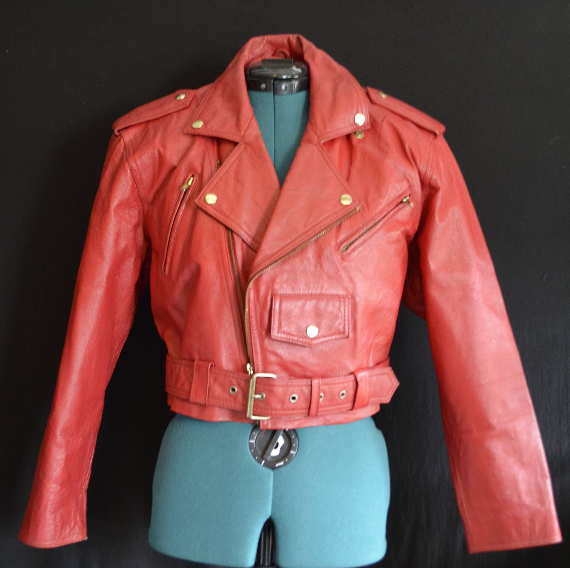 4ad2e9358 80s Red Leather Motorcycle Jacket Wilsons Suede Leather Cropped ...