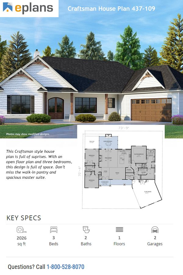 Hello gorgeous! This Craftsman style home boasts a modern layout and plenty of space. Questions? Call 1-800-447-0027 today. #architect #architecture #buildingdesign #homedesign #residence #homesweethome #dreamhome #newhome #newhouse #foreverhome #interiors #archdaily #modern #farmhouse #house #lifestyle #design
