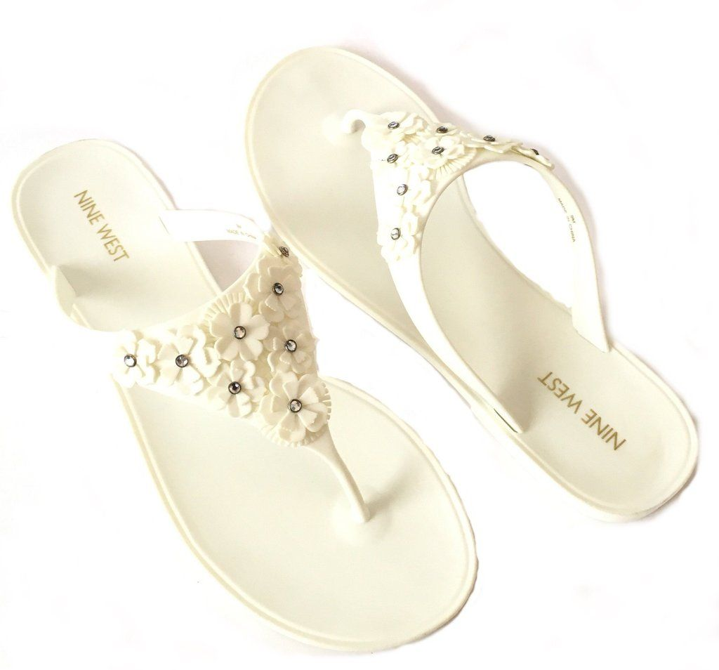 b74b43145d3fc1 Nine West White Floral Plastic Sandals